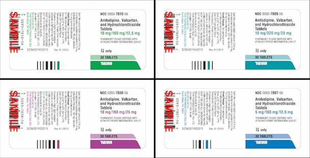 PHOTO: Teva Pharmaceuticals USA has issued a voluntary nationwide recall of 'all lots of Amlodipine / Valsartan combination tablets and Amlodipine / Valsartan / Hydrochlorothiazide combination tablets.' (FDA)