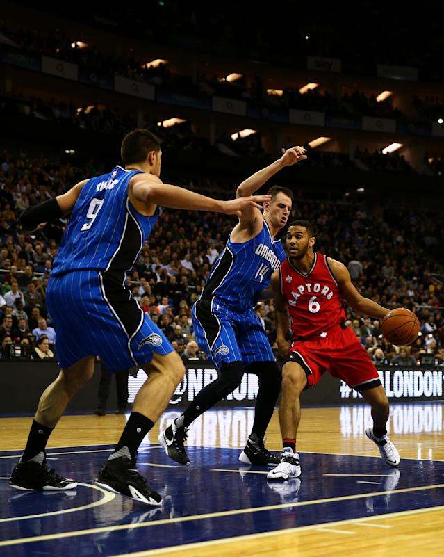 LONDON, ENGLAND - JANUARY 14: Cory Joseph #6 of the Toronto Raptors in action against Jason Smith #14 of the Orlando Magic during the 2016 NBA Global Games London match between Toronto Raptors and Orlando Magic at The O2 Arena on January 14, 2016 in London, England. (Photo by Clive Rose/Getty Images)