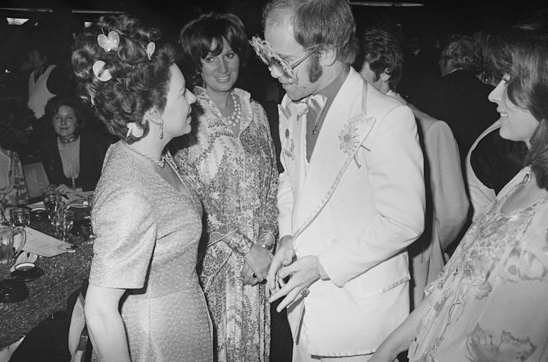 Princess Margaret meeting Sir Elton John (Getty Images)