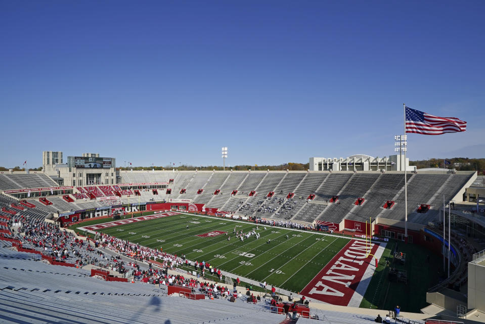 Penn State and Indiana play before family members during the first half of an NCCAA college football game, Saturday, Oct. 24, 2020, in Bloomington, Ind. (AP Photo/Darron Cummings)