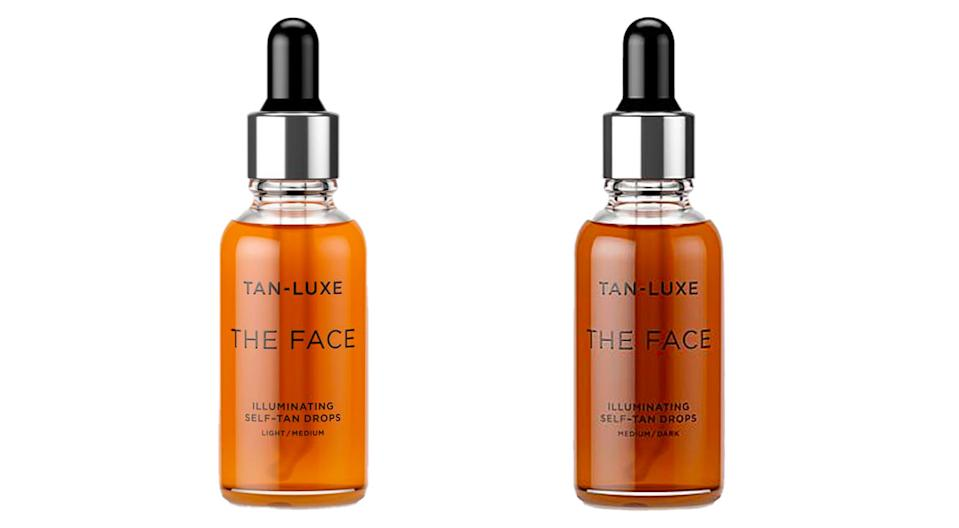 Tan-Luxe The Face Self-Tan Drops come in light/medium (left) and medium/dark (right). (Photo: HSN)