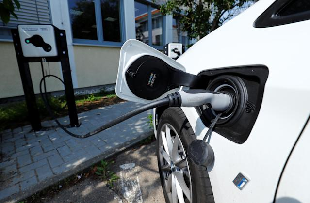An electric vehicle charging point in Ruesselsheim, Germany. Photo: Ralph Orlowski/Reuters