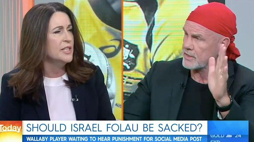 Miranda Devine and Peter FitzSimons clashed over the Israel Folau saga. Pic: Channel Nine