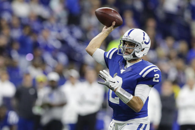 Indianapolis Colts quarterback Brian Hoyer throws against the Miami Dolphins during the first half of an NFL football game in Indianapolis, Sunday, Nov. 10, 2019. (AP Photo/Darron Cummings)