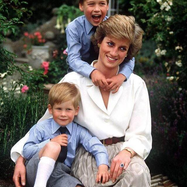 Diana, Princess of Wales with Prince William and Prince Harry