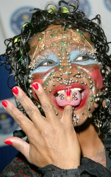 Elaine Davidson, the most pierced woman during 50th Anniversary Party for the Guinness Book of World Records at The Royal Opera House in London, Great Britain. (Photo by Tim Whitby/WireImage)