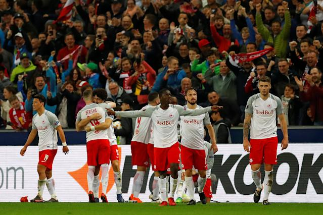 Soccer Football - Europa League Quarter Final Second Leg - RB Salzburg v Lazio - Red Bull Arena, Salzburg, Austria - April 12, 2018 RB Salzburg's Stefan Lainer celebrates with team mates after scoring their fourth goal REUTERS/Leonhard Foeger