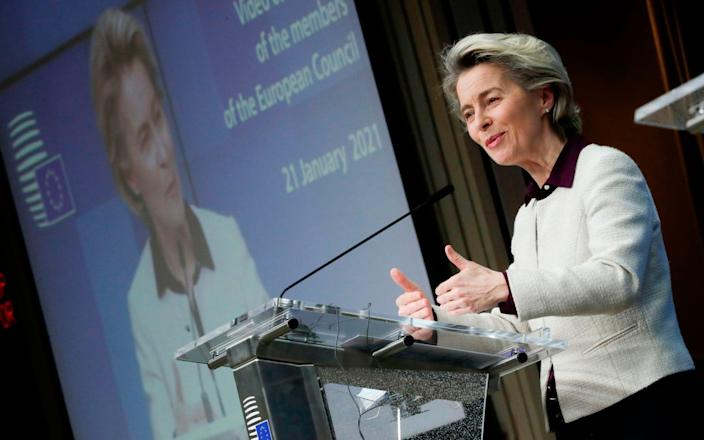 """European Commission President Ursula von der Leyen. Boris Johnson had warned European Commission president Ursula von der Leyen of his """"grave concerns"""" over Brussels' move to invoke Article 16 of the Northern Ireland Protocol to stop the unimpeded flow of jabs from the bloc into the region on Friday. - OLIVIER HOSLET/POOL/AFP"""