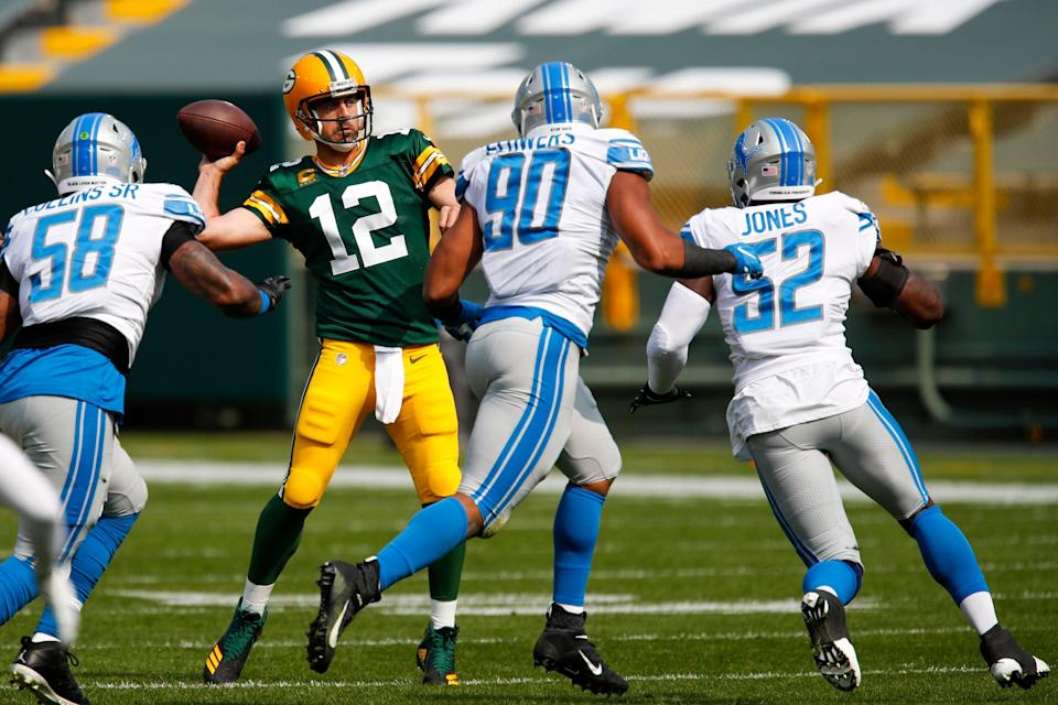 Packers QB Aaron Rodgers throws during the first half on Sunday, Sept. 20, 2020, in Green Bay, Wis.