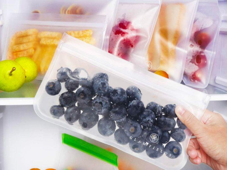 """These are an eco-friendly choice for keeping easy-to-grab snacks in the fridge or simply saving money on disposable plastic bags if your family prefers packed lunches.<br /><br /><strong>Promising review:</strong>""""I really like these.<strong>They are perfect to keep my diaper bag more organized and keep messy items contained.</strong>They open and close easily but with a good hold. Tested to hold water perfectly. The stand-open design is very useful and will protect items well. The presentation was nice, too, and would make a good gift."""" —<a href=""""https://www.amazon.com/gp/customer-reviews/R3ANKOF37PK8R0?&linkCode=ll2&tag=huffpost-bfsyndication-20&linkId=b43b2d90f82a85b5516045c9473321ec&language=en_US&ref_=as_li_ss_tl"""" target=""""_blank"""" rel=""""nofollow noopener noreferrer"""" data-skimlinks-tracking=""""5750537"""" data-vars-affiliate=""""Amazon"""" data-vars-href=""""https://www.amazon.com/gp/customer-reviews/R3ANKOF37PK8R0?tag=bfmal-20&ascsubtag=5750537%2C8%2C33%2Cmobile_web%2C0%2C0%2C0"""" data-vars-keywords=""""cleaning,fast fashion"""" data-vars-link-id=""""0"""" data-vars-price="""""""" data-vars-retailers=""""Amazon"""">Mrs.Krahn</a><br /><br /><strong>Get them from Amazon for<a href=""""https://www.amazon.com/GLAMFIELDS-Reusable-Sandwich-Bags-Glamfields/dp/B08BFXZM6V?&linkCode=ll1&tag=huffpost-bfsyndication-20&linkId=48fd41c772d24a81ffe88367628743f2&language=en_US&ref_=as_li_ss_tl"""" target=""""_blank"""" rel=""""nofollow noopener noreferrer"""" data-skimlinks-tracking=""""5750537"""" data-vars-affiliate=""""Amazon"""" data-vars-asin=""""B08BFXZM6V"""" data-vars-href=""""https://www.amazon.com/dp/B08BFXZM6V?tag=bfmal-20&ascsubtag=5750537%2C8%2C33%2Cmobile_web%2C0%2C0%2C16107163"""" data-vars-keywords=""""cleaning,fast fashion"""" data-vars-link-id=""""16107163"""" data-vars-price="""""""" data-vars-product-id=""""18485346"""" data-vars-product-img=""""https://m.media-amazon.com/images/I/410h4YshkML.jpg"""" data-vars-product-title=""""GLAMFIELDS Reusable Sandwich Bags - 6pack reusable food storage bags - Glamfields BPA Free Leak-proof Snacks Bags for kids Adult Lunch 