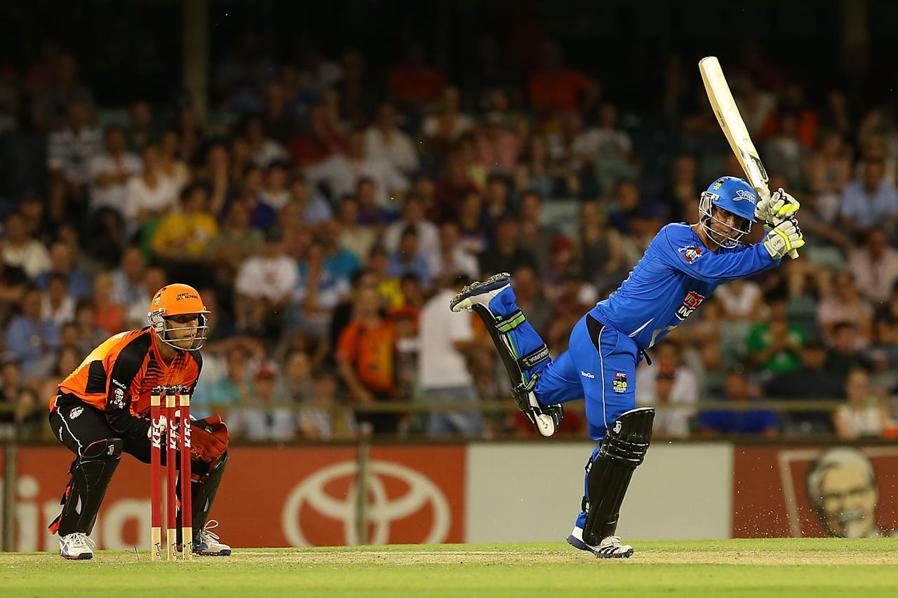 PERTH, AUSTRALIA - DECEMBER 09:  Phillip Hughes of the Strikers bats during the Big Bash League match between the Perth Scorchers and Adelaide Strikers at WACA on December 9, 2012 in Perth, Australia.  (Photo by Paul Kane/Getty Images)