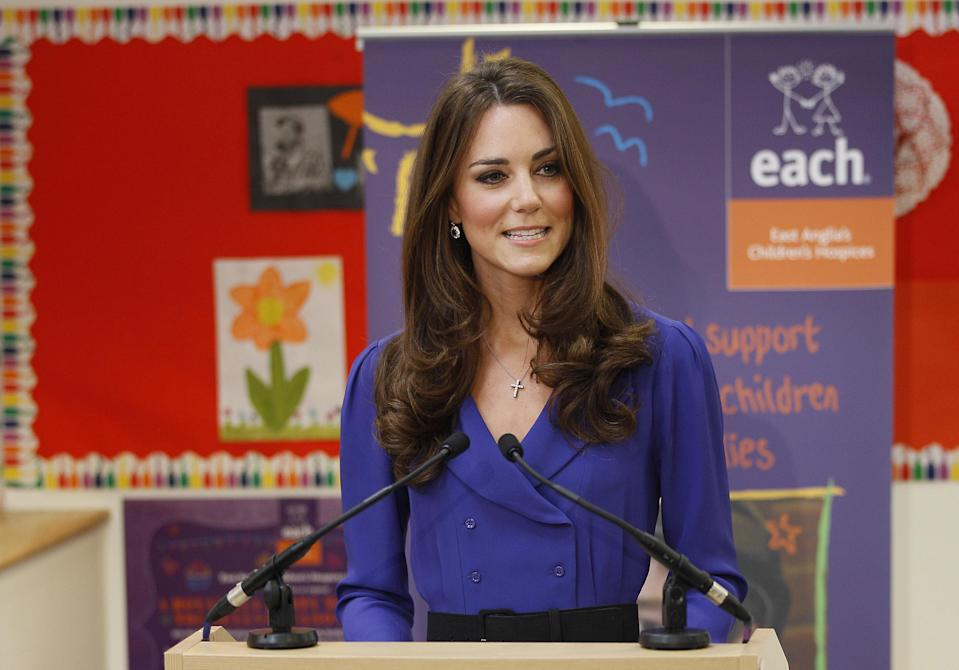 The Duchess of Cambridge gives her first public speech as a royal in March 2012 (PA)