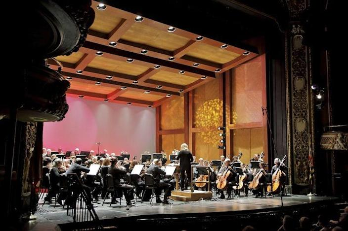 Music Director Elizabeth Schulze leads the Maryland Symphony Orchestra during a concert at The Maryland Theatre in downtown Hagerstown.