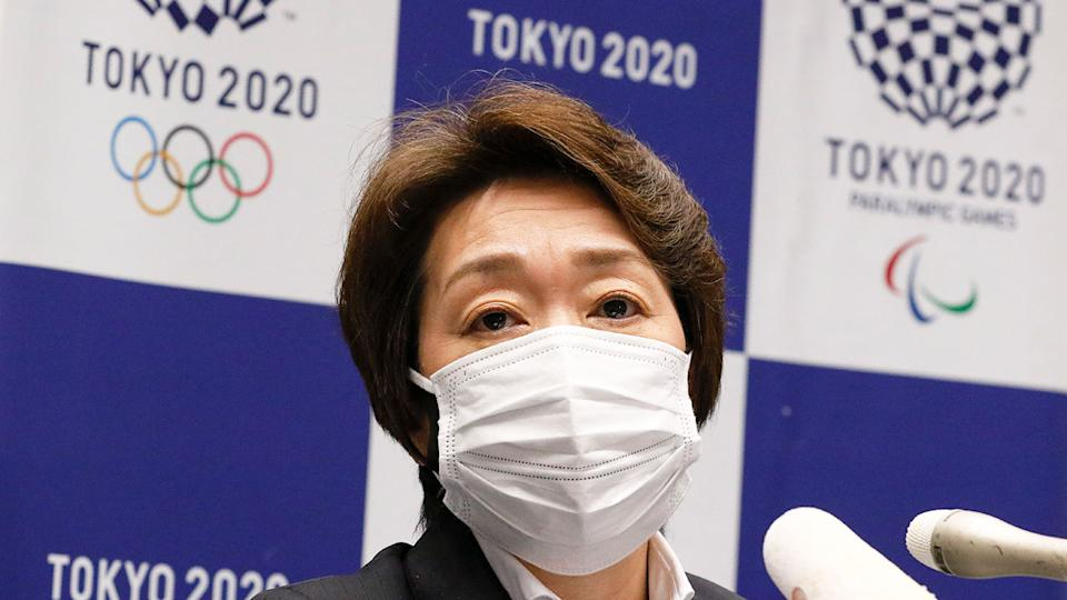 President of the Tokyo Olympic organising committee, Seiko Hashimoto, is seen here speaking to reporters.