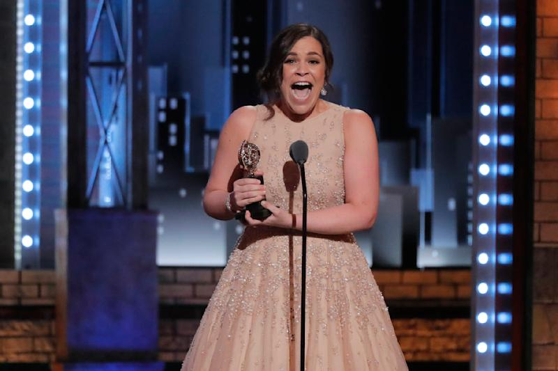 """Lindsay Mendez accepts the award for Best Featured Actress in a Musical for """"Carousel."""" (Lucas Jackson / Reuters)"""