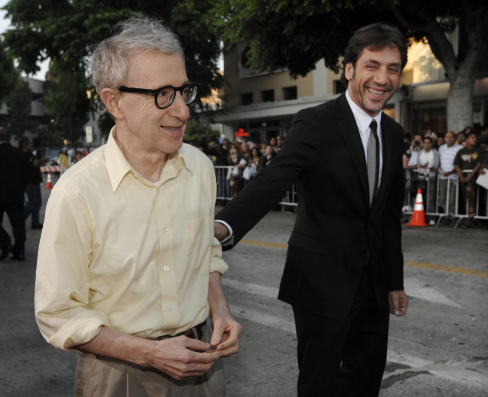 """Woody Allen, left, writer/director of """"Vicky Cristina Barcelona,"""" is greeted by cast member Javier Bardem at the premiere of the film in Los Angeles, Monday, Aug. 4, 2008. (AP Photo/Chris Pizzello)"""