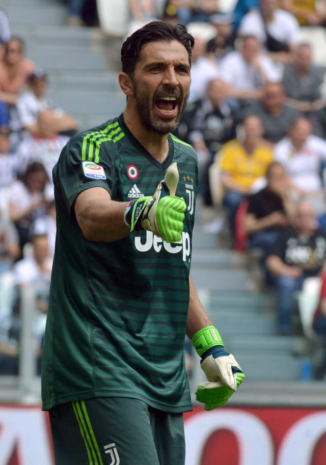 Juventus goalkeeper Gianluigi Buffon shouts during the Serie A soccer match between Juventus and Hellas Verona, at the Allianz Stadium in Turin, Italy, Saturday, May 19, 2018. Juventus captain Gianluigi Buffon played his last match for the Italian champion on Saturday and has put off retirement to consider offers to play overseas. (Alessandro Di Marco/ANSA via AP)