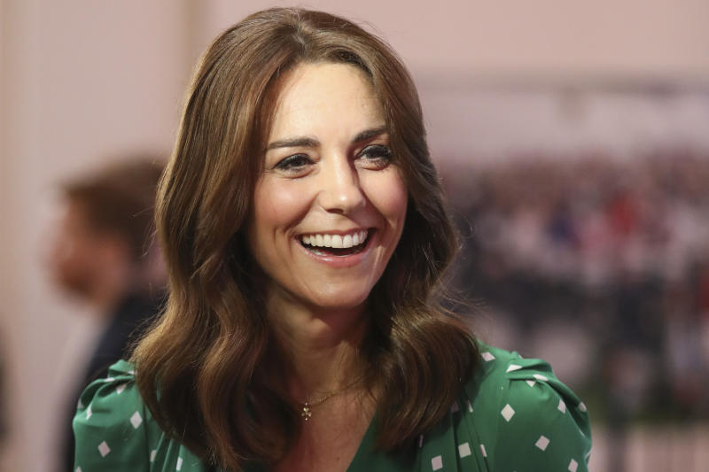 GALWAY, IRELAND - MARCH 05: Catherine, Duchess of Cambridge smiles during a meeting with Galway Community Circus performers, local artists and young musicians on March 5, 2020 in Galway, Ireland. (Photo by Peter Morrison-Pool/Getty Images)
