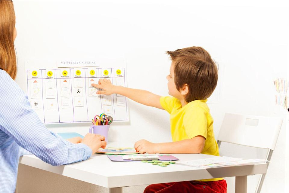 """<p>Posting your schedule somewhere visible will establish and clarify expectations for kids and parents alike right off the bat. """"Your kids (and you!) should easily be able to see what subjects are left to complete. This helps tremendously with keeping everybody organized, motivated, and productive,"""" says Schmitz. """"And it also answers the ever-present question, 'Are we done yet?'""""</p><p><strong>RELATED:</strong> <a href=""""https://www.goodhousekeeping.com/home/organizing/tips/g2358/back-to-school-prep/"""" rel=""""nofollow noopener"""" target=""""_blank"""" data-ylk=""""slk:30 Back-to-School Tips to Keep You Organized All Year Long"""" class=""""link rapid-noclick-resp"""">30 Back-to-School Tips to Keep You Organized All Year Long</a></p>"""