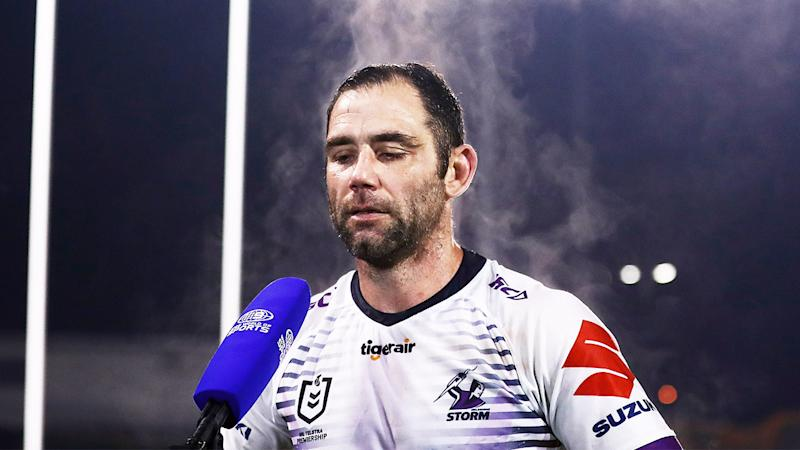 Cameron Smith (pictured) answering media questions after the Storm game.