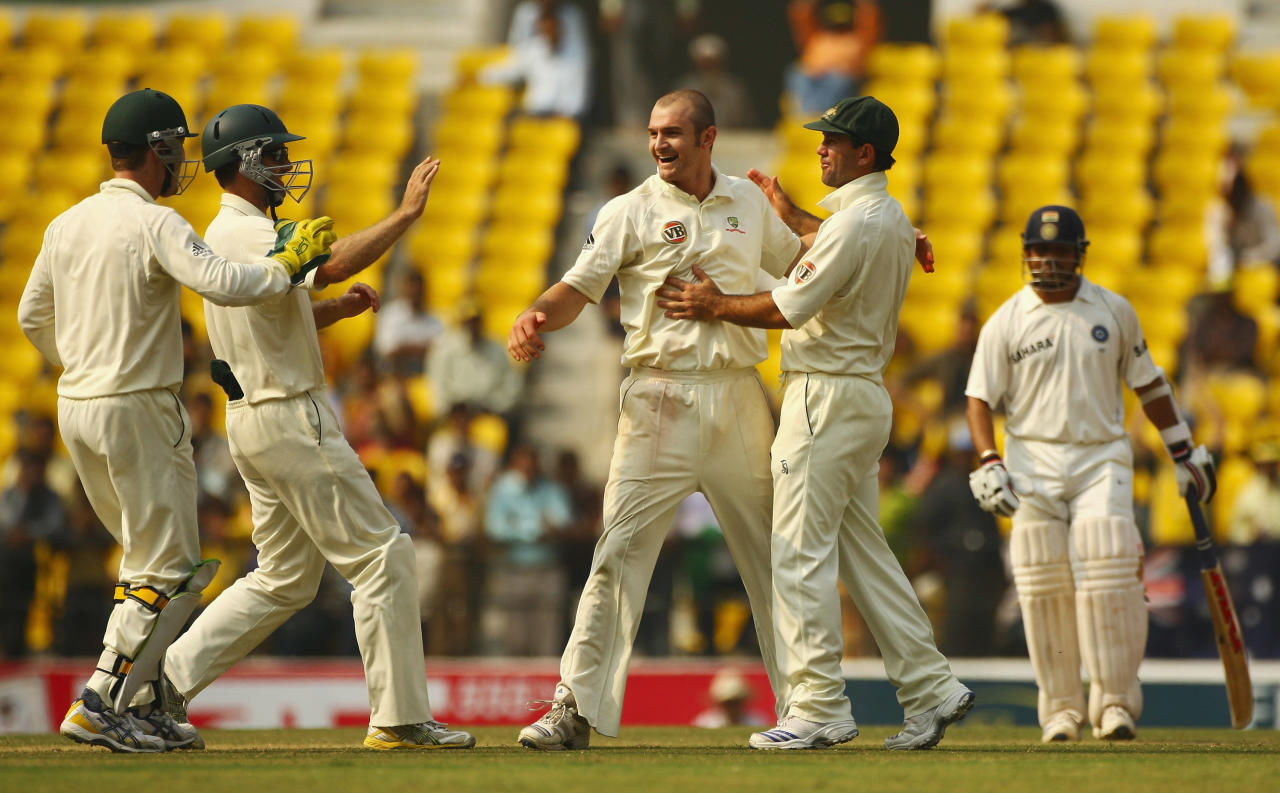 NAGPUR, INDIA - NOVEMBER 09:  Jason Krejza of Australia celebrates with team mates after bowling VVS Laxman of India during day four of the Fourth Test match between India and Australia at Vidarbha Cricket Association Stadium on November 9, 2008 in Nagpur, India.  (Photo by Global Cricket Ventures/BCCI via Getty Images)