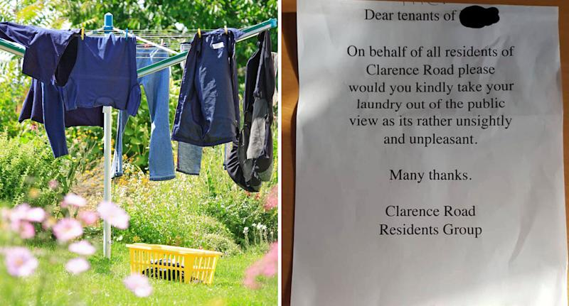 Pictured left is a file photo showing a washing line full of clothes, and (right) the note asking Clarence Road residents not to hang washing in public view.