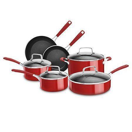 "<p><strong>KitchenAid</strong></p><p>walmart.com</p><p><strong>$149.99</strong></p><p><a href=""https://go.redirectingat.com?id=74968X1596630&url=https%3A%2F%2Fwww.walmart.com%2Fip%2FKitchenaid-Stainless-Steel-10-Piece-Set-Kc2Ss10Pc%2F654320716&sref=https%3A%2F%2Fwww.goodhousekeeping.com%2Fcooking-tools%2Fcookware-reviews%2Fg799%2Fbest-picks-nonstick-cookware%2F"" rel=""nofollow noopener"" target=""_blank"" data-ylk=""slk:Shop Now"" class=""link rapid-noclick-resp"">Shop Now</a></p><p>The red finish on these KitchenAid pans will add a pop of color to your kitchen. On top of stellar cooking results, these induction-safe pieces <strong>clean up beautifully</strong>, thanks to nonstick interiors and exteriors. In our tests, they scored high in cooking eggs with no oil and for having good heat distribution. </p>"