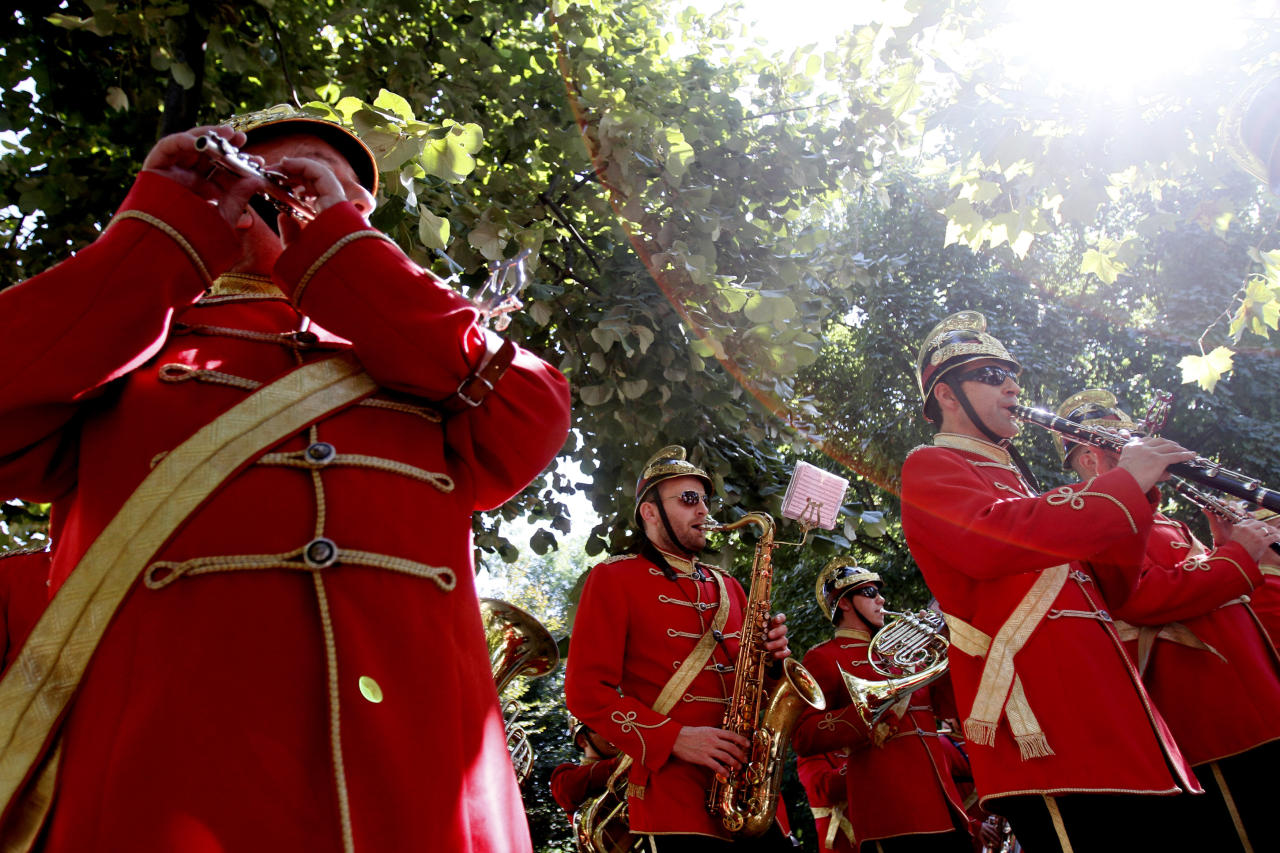 Budapest's Firefighters Band play music during a ceremony marking the 10th anniversary of the 9/11 attacks on the World Trade Center, near the U.S. Embassy in Budapest, September 11, 2011.  (REUTERS/Bernadett Szabo)