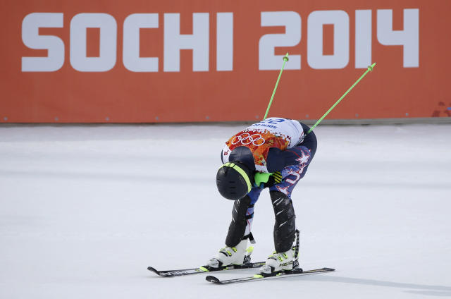 United States' Ted Ligety catches his breath after finishing the slalom portion of the men's supercombined at the Sochi 2014 Winter Olympics, Friday, Feb. 14, 2014, in Krasnaya Polyana, Russia. (AP Photo/Christophe Ena)