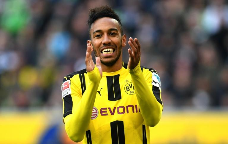 Dortmund's Pierre-Emerick Aubameyang celebrates after scoring against Moenchengladbach in Moenchengladbach, western Germany, on April 22, 2017
