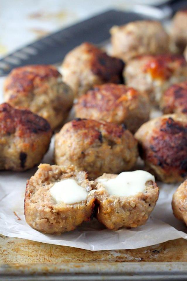 """<p>When you've got meat and cheese, who needs carbs?</p><p>Get the recipe from <a rel=""""nofollow"""" href=""""http://bakerbynature.com/30-minute-mozzarella-stuffed-turkey-meatballs-with-homemade-marinara/"""">Baker by Nature</a>.</p>"""