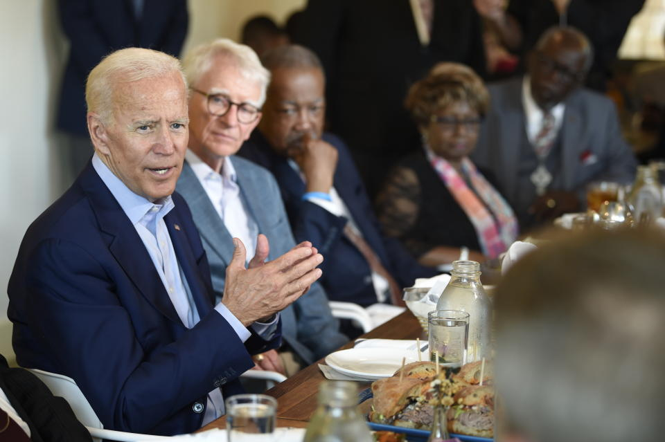Former Vice President Joe Biden meets with supporters at a restaurant on Sunday, July 7, 2019, in Charleston, S.C. (AP Photo/Meg Kinnard)