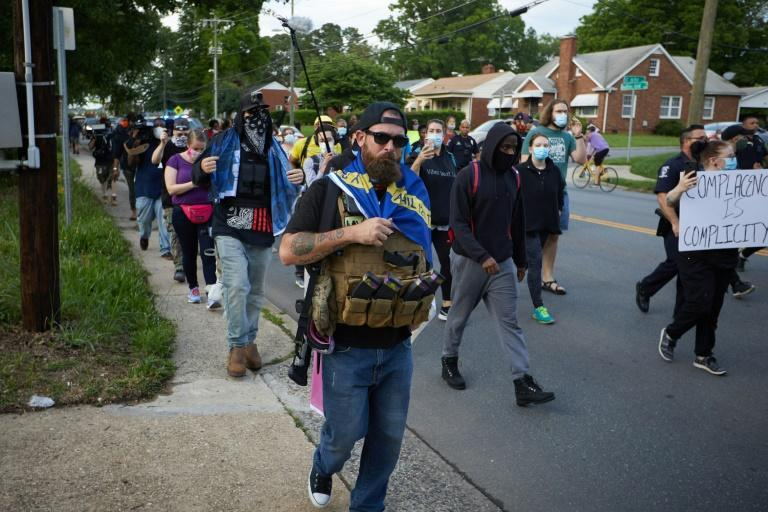 A member of the far-right Boogaloo bois movement at a protest in Charlotte, North Carolina on May 29, 2020. (AFP Photo/Logan Cyrus)