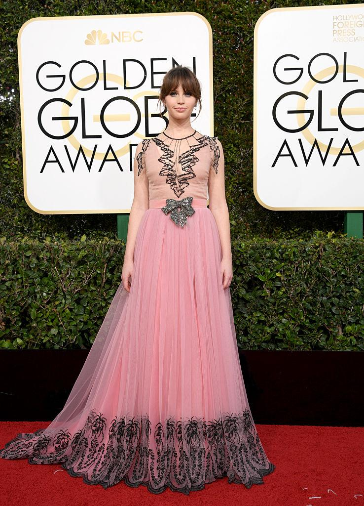 Felicity Jones in Gucci. (Photo: Getty Images)