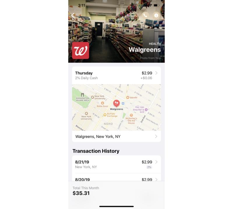 The Apple Card app will show you where you've made purchases on a map. (Image: Howley)