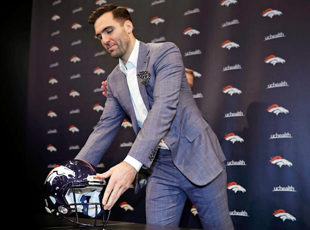 Whether he likes it or not, Joe Flacco has no say in whether or not the Broncos draft a quarterback. (AP)