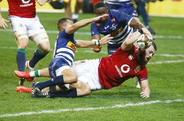Luke Cowan-Dickie crashes over for the Lions' second try against the Stormers