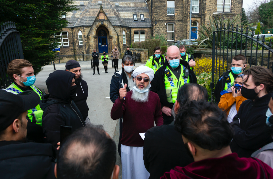 Many protesters described the incident as 'offensive' and 'Islamaphobic'.(SWNS)