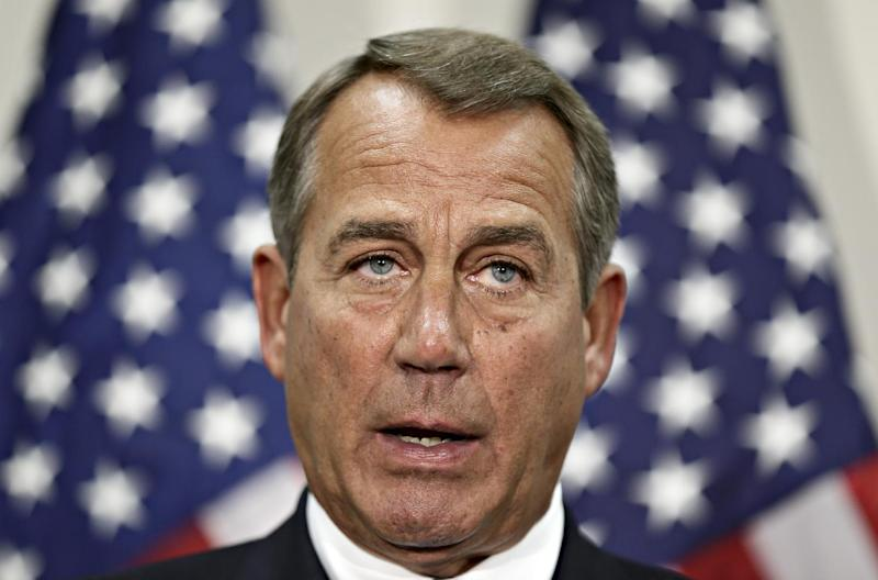 House Speaker John Boehner of Ohio speaks during a news conference on Capitol Hill in Washington, Wednesday, Nov. 28, 2012, following a closed strategy session. (AP Photo/J. Scott Applewhite)