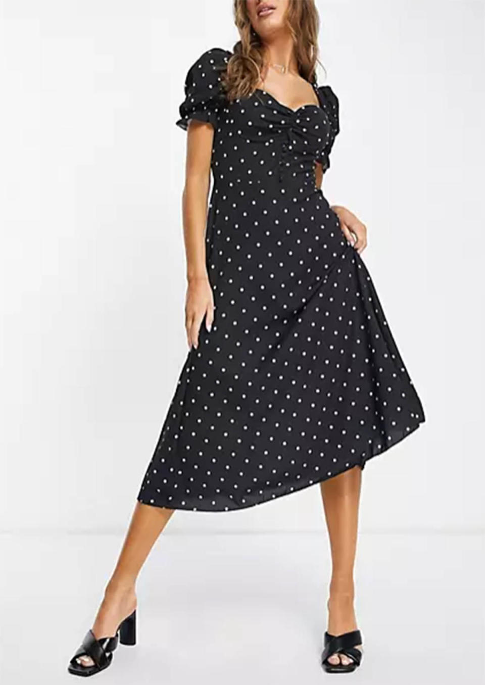 ASOS I Saw It First polka dot puff sleeve button front midi dress, $44.80 (on sale)