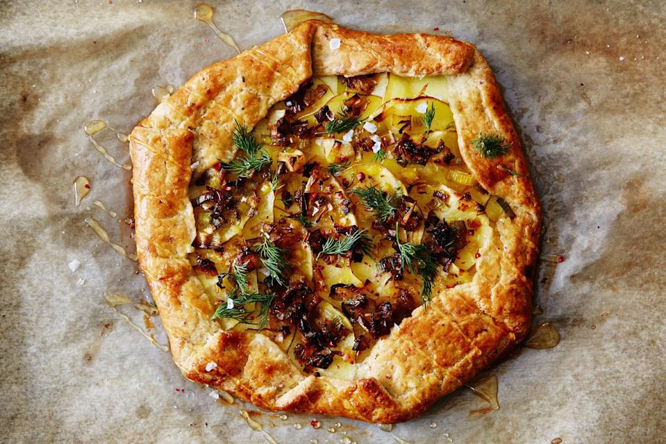 "Adding ground pistachios creates a substantial dough that complements the leeks for these galettes. <a href=""https://www.epicurious.com/recipes/food/views/leek-and-potato-galette-with-pistachio-crust?mbid=synd_yahoo_rss"" rel=""nofollow noopener"" target=""_blank"" data-ylk=""slk:See recipe."" class=""link rapid-noclick-resp"">See recipe.</a>"