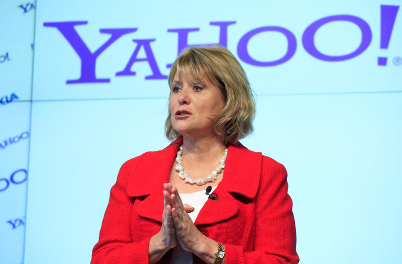 FILE - In this May 24, 2010 photo, Carol Bartz, CEO of Yahoo, attends a news conference in New York.   Bartz is no longer CEO of Yahoo Inc., according to a report by the Wall Street Journal's All Things D technology blog.  The situation around her departure is unclear, the report said, citing anonymous sources. But the blog says Chief Financial Officer Tim Morse has been named interim CEO.  (AP Photo/Mark Lennihan)