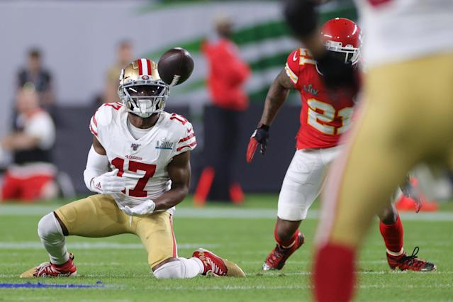 Emmanuel Sanders was almost a Super Bowl hero for the 49ers. (Photo by Jamie Squire/Getty Images)