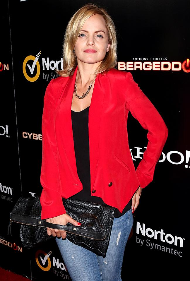 "<p class=""MsoNormal"">Mena Suvari dressed down for the soiree in a pair of destroyed jeans, a fire engine-colored blazer, and blown-out locks. Despite her casual attire, the ""American Pie"" star still looked red hot. (9/24/12)</p>"