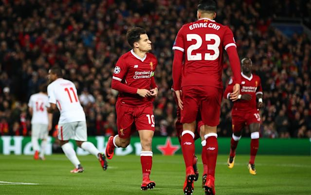 9:39PM Who could Liverpool face? Liverpool's possible #UCL opponents: Bayern Munich, FC Basel, FC Porto, Juventus, Real Madrid, Shakhtar Donetsk. #LFC— Dale Johnson (@DaleJohnsonESPN) December 6, 2017 9:36PM Full time And that's that. Liverpool have strolled, incredibly, to their second 7-0 win of this group stage alone. That really was very impressive stuff from the hosts, but Spartak were truly awful and didn't make much of a game of it. Liverpool will be pleased to have won that without expending too much effort, the only blemish Alberto Moreno's injury ahead of Sunday's Merseyside derby. Liverpool vs Spartak Moscow shots on goal 9:32PM They're now on 23... Liverpool have scored 22 goals in the Champions League this season. They only scored 18 in 2004-05, when they won it.— Richard Jolly (@RichJolly) December 6, 2017 9:30PM GOOOOAL! Liverpool 7-0 Spartak (Salah) And Salah has his goal. He latches on to Milner's cross after Sturridge's dummy, fakes a shot to sell two defenders before firing into the top corner. Just so easy. Liverpool 7 - 0 Spartak Moscow (Mohamed Salah, 86 min) 9:27PM 84 mins Lovely ball inside the full back from Mane, Alexander-Arnold comes steaming into the area and crosses low for Sturridge, but he can only turn over the bar. Out: Liverpool 6 - 0 Spartak Moscow (Daniel Sturridge, 84 min) 9:26PM 81 mins Big penalty shout and Sturridge cannot believe it hasn't been given. Coutinho scoops a ball over the defence, Sturridge runs onto it, tries to tap it past the onrushing keeper, but replays show Selikhov gets an inadvertent touch on it before Spartak scramble it clear. 9:20PM GOAL! Mane makes it 6-0! Mane nicks possession inside the centre circle and Liverpool burst to life. Can finds Salah and Sturridge is advancing to his right. He looks up to see Mane arriving in the six yard box and squares the ball across goal for Mane to tap in. It was just behind him but he does well to force it home. Ball recovery: Liverpool 5 - 0 Spartak Moscow (Emre Can