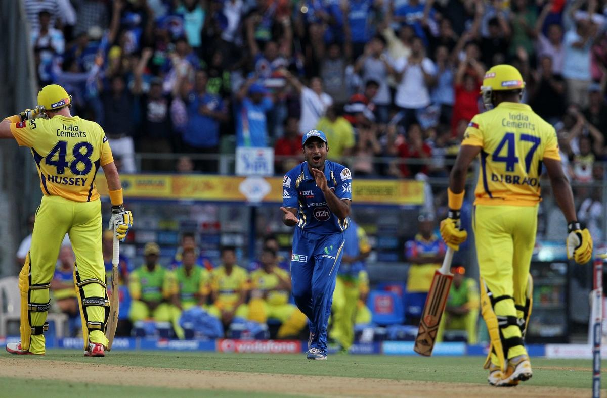 Mumbai Indian player Ambati Rayudu reacts after taking the catch of Chennai Super King player Dwayne Bravo during match 49 of the Pepsi Indian Premier League ( IPL) 2013  between The Mumbai Indians and the Chennai Super Kings held at the Wankhede Stadium in Mumbai on the 5th May 2013 ..Photo by Vipin Pawar-IPL-SPORTZPICS ..Use of this image is subject to the terms and conditions as outlined by the BCCI. These terms can be found by following this link:..https://ec.yimg.com/ec?url=http%3a%2f%2fwww.sportzpics.co.za%2fimage%2fI0000SoRagM2cIEc&t=1506184852&sig=8EF9aXnkNJb2c98ddz76UQ--~D