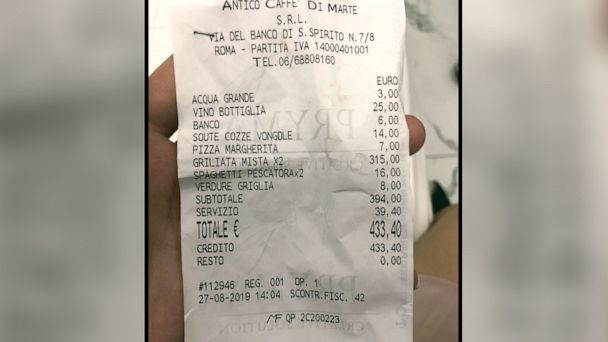 PHOTO: Receipt a couple received, and posted to their TripAdvisor review, after dining at the Antico Caffe di Marte in Rome, Italy. (via TripAdvisor)