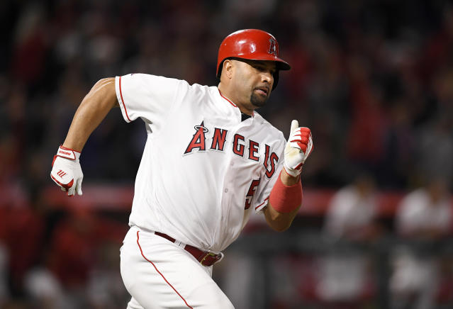 Los Angeles Angels' first baseman Albert Pujols reached 3,000 career hits on Friday. (AP)