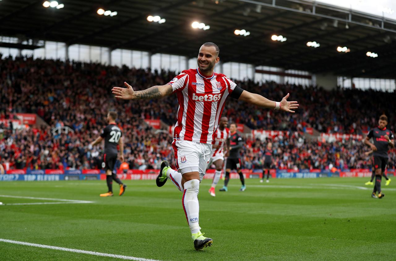 """Football Soccer - Premier League - Stoke City vs Arsenal - Stoke-on-Trent, Britain - August 19, 2017  Stoke City's Jese celebrates scoring their first goal  Action Images via Reuters/Carl Recine   EDITORIAL USE ONLY. No use with unauthorized audio, video, data, fixture lists, club/league logos or """"live"""" services. Online in-match use limited to 45 images, no video emulation. No use in betting, games or single club/league/player publications. Please contact your account representative for further details.     TPX IMAGES OF THE DAY"""