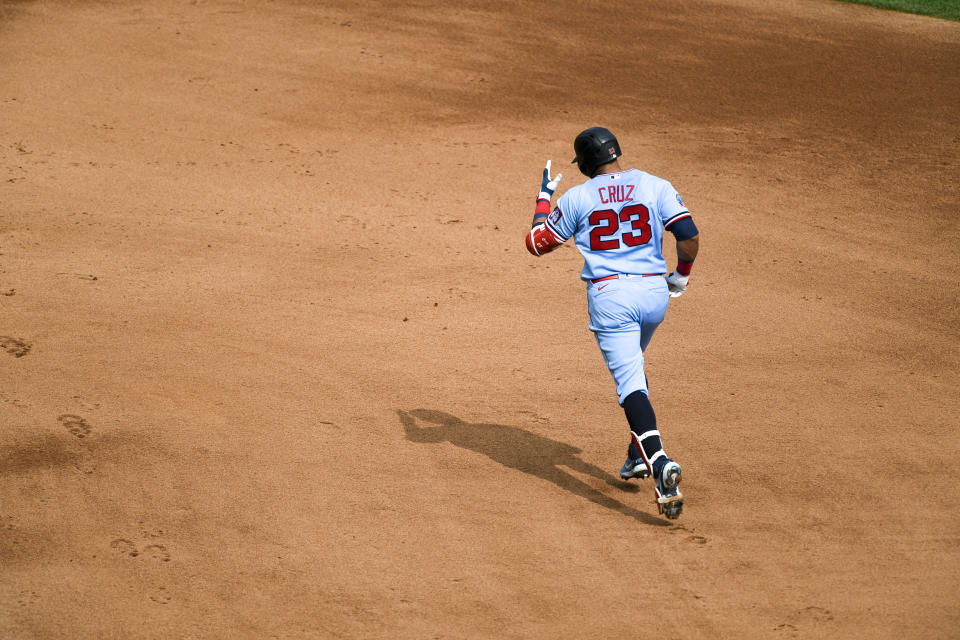 Minnesota Twins Minnesota Twins Nelson Cruzrounds the bases after hitting a home run against the Cleveland Indians' during the fourth inning of a baseball game Sunday, Sept. 13, 2020, in Minneapolis. The Twins won 7-5. (AP Photo/Craig Lassig)